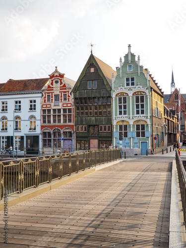 Wall Murals Bridges 16th and 17th century houses Het paradijske, Sint-Jozef and De duiveltjes at the old Haverwerf in teh city center of Mechelen, Belgium