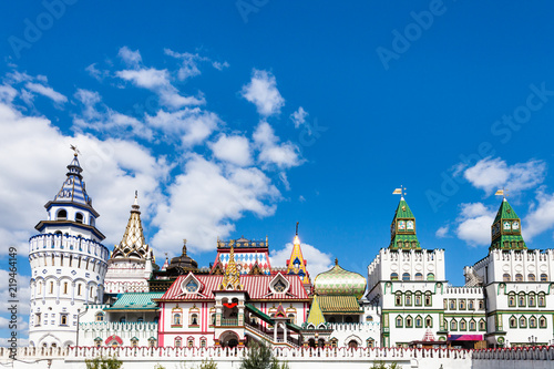 Photo  white stone Izmaylovskiy Kremlin in Moscow city