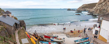 Landscape Panorama Of Trevaunance Cove At High Tide St Agnes West Cornwall South England UK
