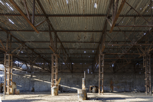 Abandoned factory hangar, where games are held in paintball