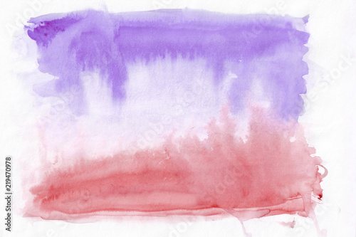 Photo  Crimson (or red) and violet (lavender) mixed abstract watercolor background