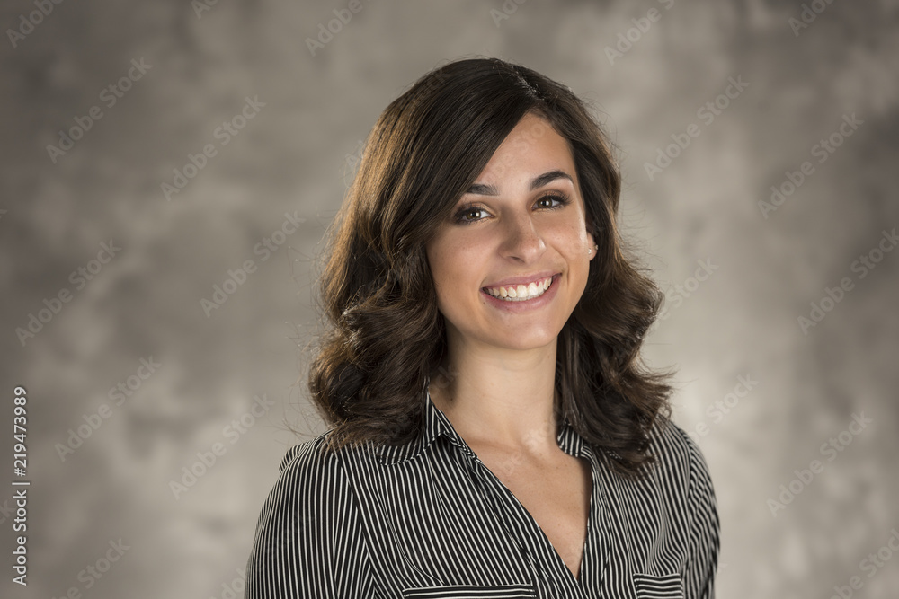Fototapeta Beautiful Young Lady on Gray Background