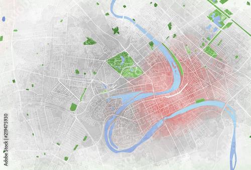 Fotografija  Mappa di Baghdad, vista satellitare, città, parchi e fiumi