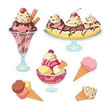 Set Of Ice Cream. Vintage Style, Color.