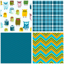 Owl Seamless Pattern Set. Repe...