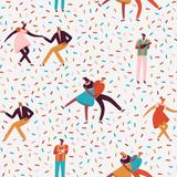 Taniec pary w latach 50. retro styl wzór w wektorze. - 219482945