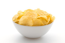 Potato Chips In White Bowl Isolated On White Background.