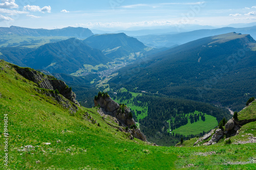 Foto op Plexiglas Groene The view of Dolomites Alps from Seceda viewpoint, Ortisei, South Tyrol, Dolomites, Italy.