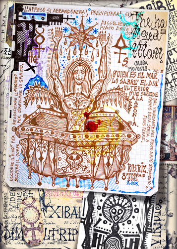 Alchimia. Collage di appunti, manoscritti, disegni, simboli e schizzi esoterici, astrologici, alchemici e etnici