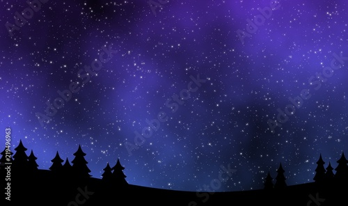 Poster Violet Night sky with stars field illustration design background