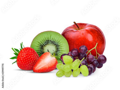 kiwi fruit,strawberry,grape and red apple isolated on white background