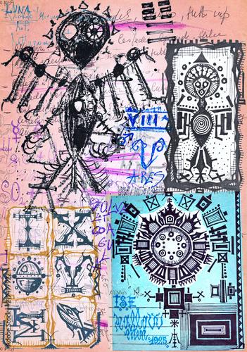 Foto op Plexiglas Imagination Alchimia. Collage di appunti, manoscritti, disegni, simboli e schizzi esoterici, astrologici, alchemici e etnici
