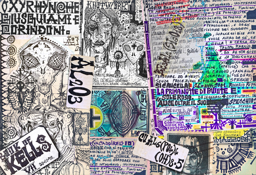 Foto op Plexiglas Imagination Alchimia e astrologia. Manoscritti con disegni e simboli alchemici, etnici, astrologici e esoterici