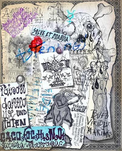 Tuinposter Imagination Alchimia e astrologia. Manoscritti con disegni e simboli alchemici, etnici, astrologici e esoterici