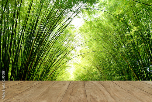 In de dag Bamboo Empty top wooden table on bamboo forest for background