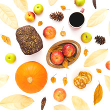 Thanksgiving Dinner Frame Made Of Fall Leaves, Pine Cones, Mug Of Coffee, Bread And Apples And Pumpkin On White Background. Flat Lay, Top View