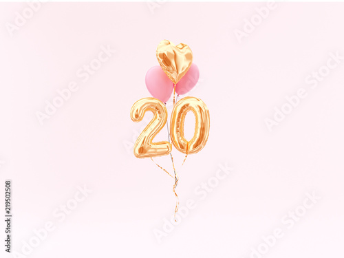 20 Years Old Gold Balloons Number 20th Anniversary Happy Birthday Congratulations 3d Rendering