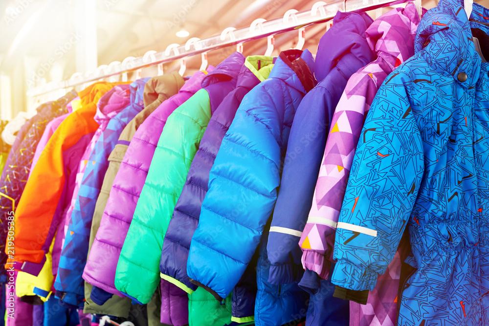 Fototapeta Winter children sports jacket on hanger in store