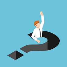Isometric Businessman Falling Into Question Mark Hole