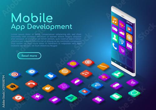 Obraz Isometric web banner smartphone with mobile app icon - fototapety do salonu