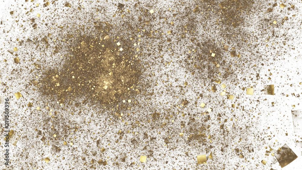 Fototapety, obrazy: Abstract golden particles. Digital fractal art. 3D rendering.