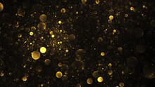 Abstract Golden Drops. Digital Fractal Art. 3D Rendering.