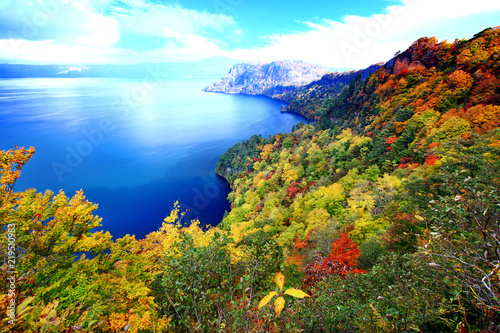 Beautiful aerial view of Lake Towada with colorful autumn foliage in Aomori, Jap Canvas Print