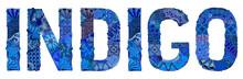 Word INDIGO. Vector Decorative Zentangle Object For Decoration