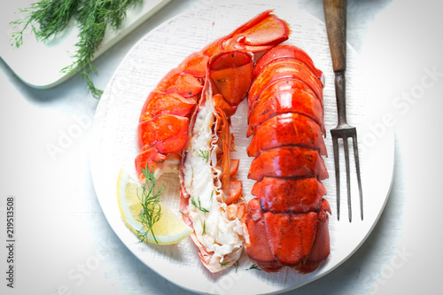 Cooked lobster tails with lemon & dill Fototapeta