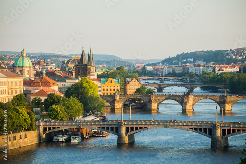 Foto op Canvas Praag Scenic spring sunset aerial view of the Old Town pier architecture and Charles Bridge over Vltava river in Prague, Czech Republic