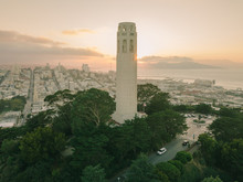 Aerial Drone Shot Coit Tower S...