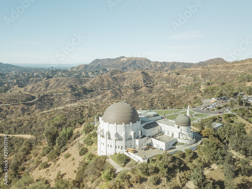 Aerial Drone Shot Griffith Observatory Los Angeles Midday Canvas Print