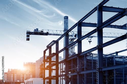 Spoed Fotobehang Stad gebouw Dusk building site