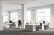 Leinwandbild Motiv White office corner, columns, computer desks