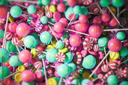 Colorful yellow, blue and pink lollipop backdrop Fototapeta