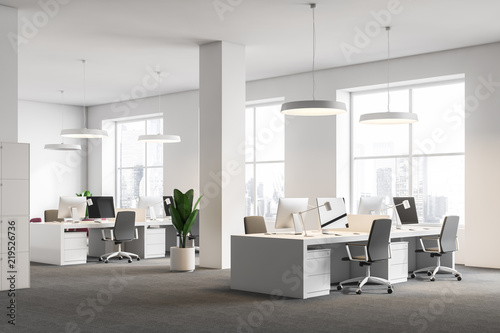 Obraz White office corner, columns, computer desks - fototapety do salonu