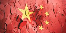 China Flag On Cracked Wall Bac...