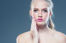 Beauty Blonde Hair Woman Pink Lips Blue Eyes Beautiful Model