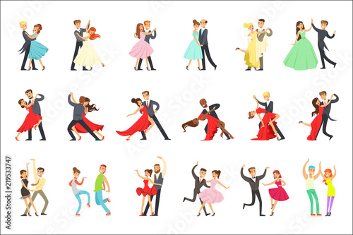 Stampa su Tela Professional Dancer Couple Dancing Tango, Waltz And Other Dances On Dancing Cont
