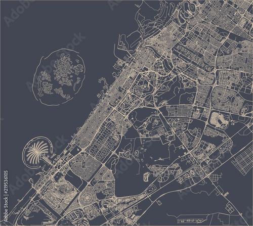 Fototapeta map of the city of Dubai, United Arab Emirates UAE