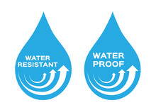 Water Resistant And Proof Logo , Icon And Vector . Blue Version