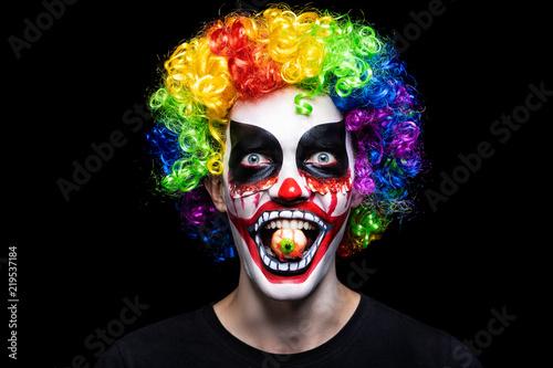 Fotografía Scary clown make-up for Halloween