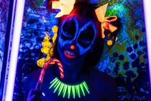 Woman Neon Halloween Make Up