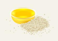Sesame Oil With Glasses Bowl Vector / White