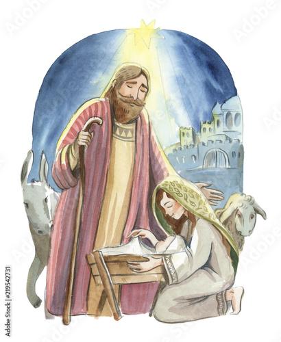 Fotografia Christmas nativity scene of Joseph and Mary holding baby Jesus