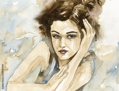Spoed Foto op Canvas Schilderkunstige Inspiratie Woman watercolor.
