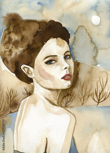 Spoed Foto op Canvas Schilderkunstige Inspiratie Woman watercolors.