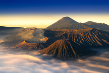 Mount Bromo Twilight Sky Sunrise  Java, Indonesia