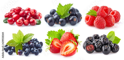 Collection of fresh berries on white background Wallpaper Mural