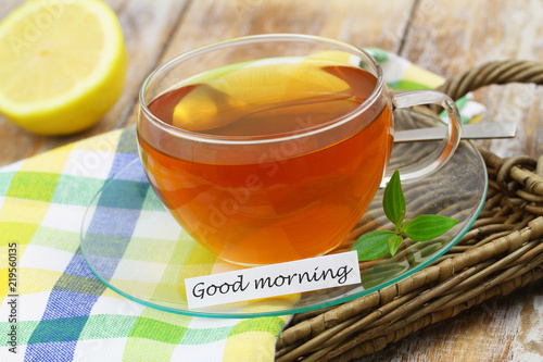 Good Morning Card With Green Tea In Transparent Cup On Wicker Tray Closeup Buy This Stock Photo And Explore Similar Images At Adobe Stock Adobe Stock